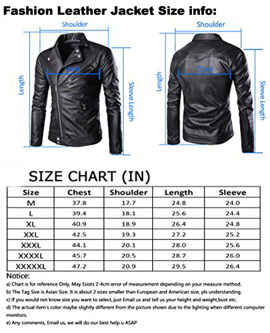 Bomber Leather Jacket Size Chart Mens Leather Jacket Bilal Brothers